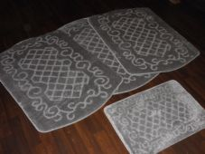 ROMANY WASHABLES TRAVELLERS MATS 4PC NON SLIP NEW DESIGN SUPER THICK SILVER